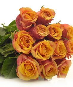 Šopek veselja sestavljajo oranžne vrtnice z rdečo kombinacijo