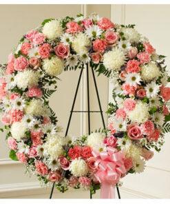 Žalni venec v beli in roza barvi