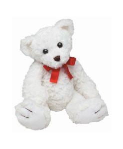 Beli medvedek z rdečo pentljo