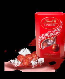 Čokoladne kroglice Lindor rdeče barve za boljši okus v ustih