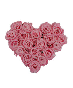 pink roses in a shape of the heart