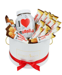 nutela chocolates and big nutela in the white bucket
