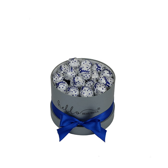 chocolate bacio box of chocolates in a grey bucket with red bow