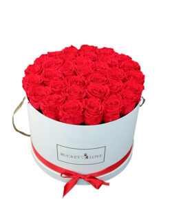 huge white bucket of love box with dozens of red flowers