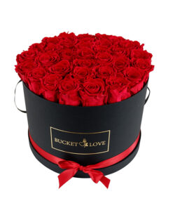big black bucket of love with red roses