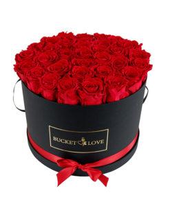 rdeče vrtnice v črnem vrču ljubezni