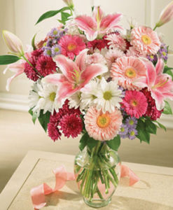 mešani šopki cvetja z gerberami
